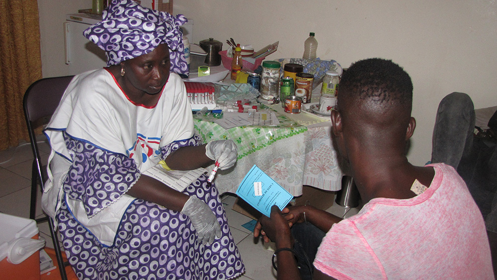 A member of Mauritania's gay community takes an HIV test in Nouakchott.